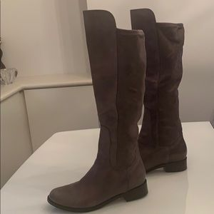Cole Haan Grey leather/microsuede over knee boots
